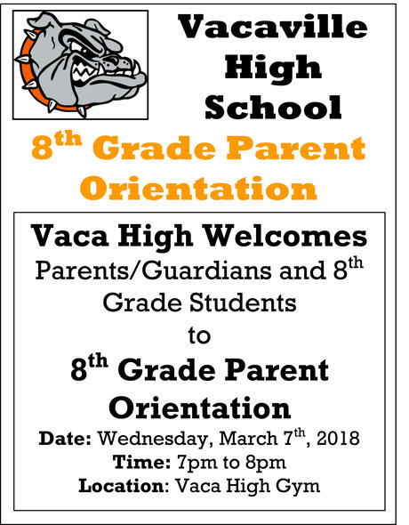 8th Grade Parent Orientation Flyer